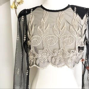 Romantic black lace crop blouse